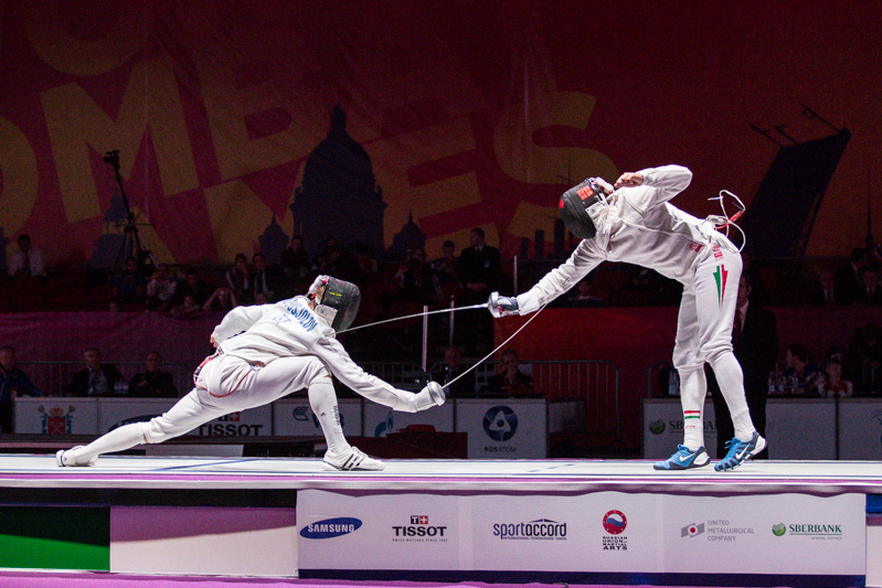 Estonia's Novosjolov wins gold against Hungary's Boczko in the men's epee finals at the World Combat Games in St. Petersburg, Russia.