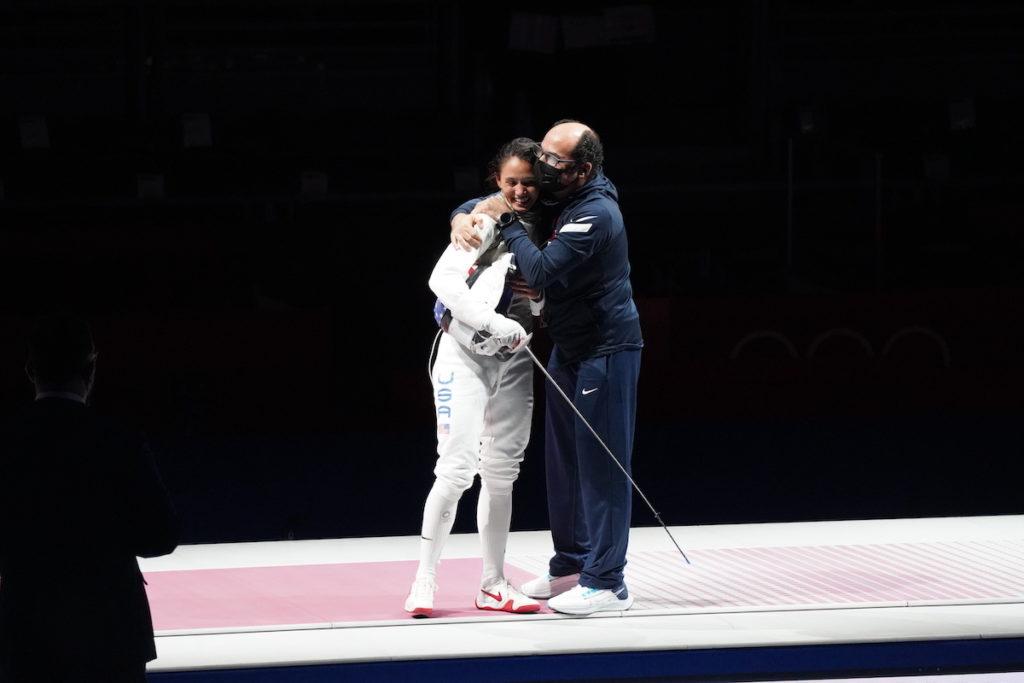 Lee Kiefer and coach Amgad Khazbak, c/o Caroline Cosgrove