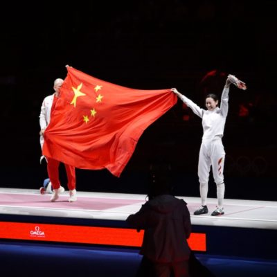 Sun Yiwen after winning her first Olympic Gold in Women's Epee Individual, Tokyo 2020