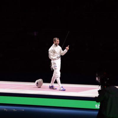 Aron Szilagyi after winning his third consecutive Men's Saber Individual Gold Medal in Tokyo 2020